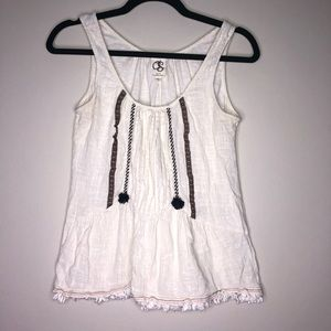 Anthro One September Embroidered White Tank S